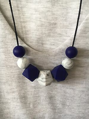 Silicone Necklace Australia for Mum (was Teething) Beads Aus Gift Navy Sensory