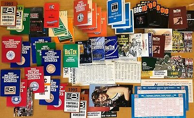 Lot 60+ COLLEGE FOOTBALL CONFERENCE Schedules 1973 to 2010s, Mostly Different