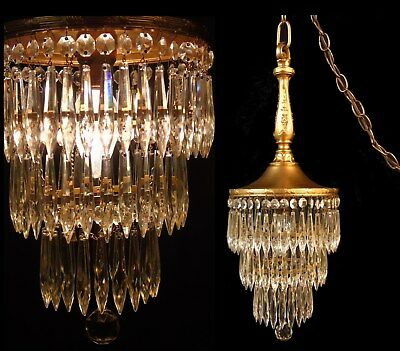 Antique Art Deco Nouveau Crystal Prisms Wedding Cake Tier Chandelier Lamp Light