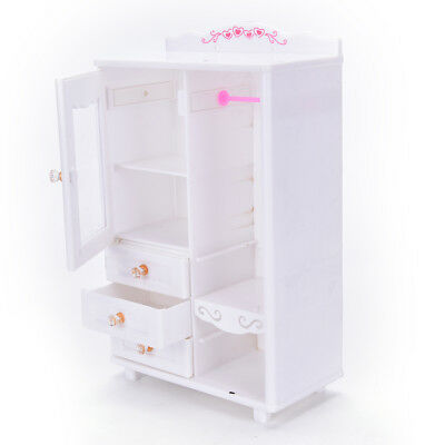 Plastic Pink Furniture Wardrobe Doll House Accessories Wardrobe For Barbie Doll Aud