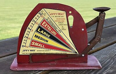 Brower Mfg. Co. JIFFY WAY, Quincy, IL, Rustic Vintage Tin Poultry Egg Scale