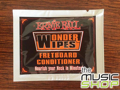 6 x Ernie Ball Wonder Wipes Guitar Fretboard Conditioner -6 Individual Packs