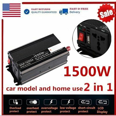 3000W Peak Solar Power Inverter 12V DC To 220V AC Modified Sine Wave USB Charger