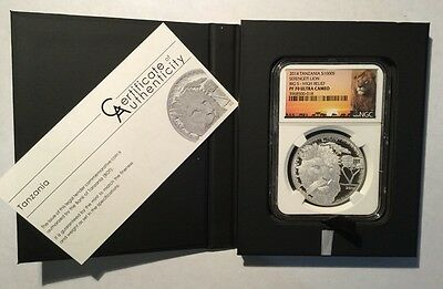 2014 Tanzania Silver 1000 Shillings Serengeti Lion High Relief NGC PF70 Ultra Ca