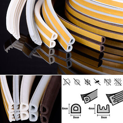 D P E V Foam Draught Self Adhesive Window Door Excluder Seal Rubber 6m 10m