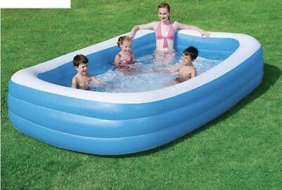 Blue Inflatable Family Pool, Rectangular