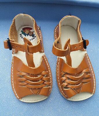 Vintage Buster Brown Leather Baby Sandals