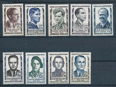 France 1957 & 1958 Heroes of the Resistance sets Mint Hinged CV £17