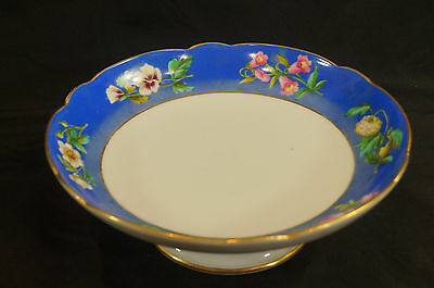 Mid 19th Century Old Paris Porcelain Hand Painted Blue & Floral Compote