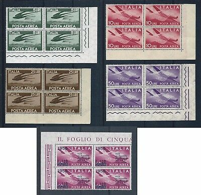 Italy 1945-1956 Selection of Airs in corner blocks of 4 Mint Never Hinged