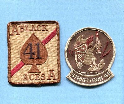 VFA-41 BLACK ACES US NAVY F-18 HORNET Desert Fighter Squadron Jacket Patch Set