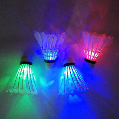 4Pcs Dark Night Colorful Glowing LED Badminton Shuttlecock Birdies Lighting