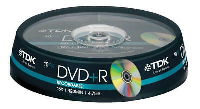 10 Discs pack TDK Gold Series DVD+R 4.7Gb 16X Blank Recordable Discs.