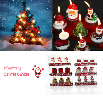 3Pcs Lovely Santa Claus Snowman Shape Christmas Candles Xmas Party Decor Gift