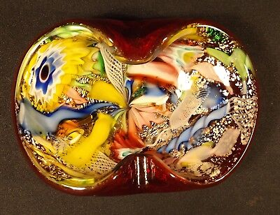 1950's Murano End Of Day Art Glass Ash Tray Aventurine Silver Veins Deep Red