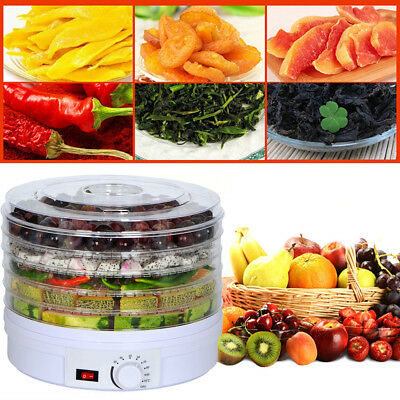 350W 5 Tier Tray Food Dehydrator Fruit Dryer Machine With Thermostat Control UK