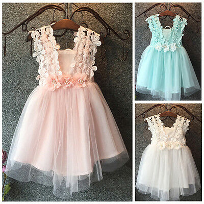 USA Toddler Kids Baby Girls Princess Pageant Party Lace Bow Flower Floral Dress