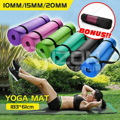 10/15/20MM Yoga Mat Pad Thick Nonslip Fitness Pilate Exercise Gym OZ