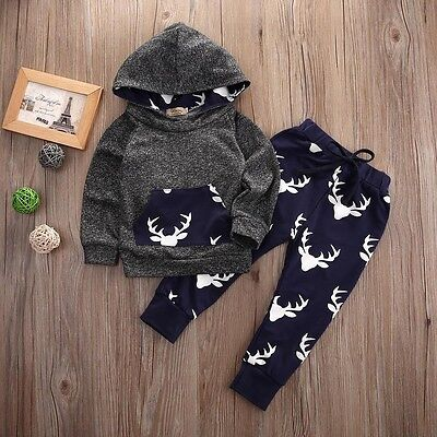 US Stock Newborn Baby Boys Grey Deer Hooded Tops Pants 2Pcs Outfits Set Clothes