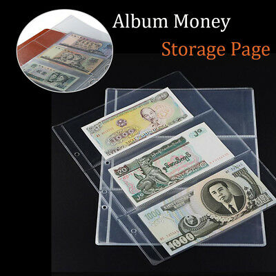 10 x Note Banknotes Currency Holders Album Pages 3-Pocket Paper Money Sleeves