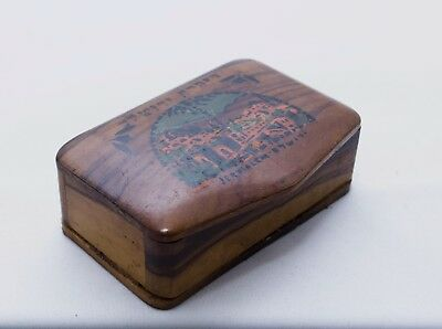 Antique Judaica Snuff Tobacco Box Wood Olive Tree Jerusalem Bezalel ca. 1940's
