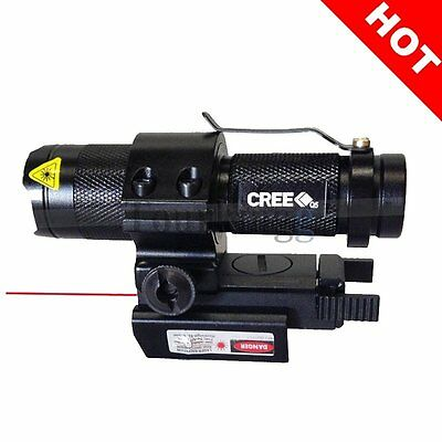 CREE Q5 LED Zoom Tactical Flashlight & Red Dot Laser Combo with 20mm Rail Mount