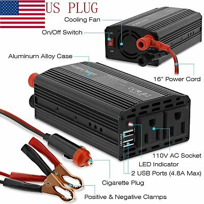 600W Peak Power DC 12V to 110V AC Power Inverter Travel Charger 2 Outlet 2 USB