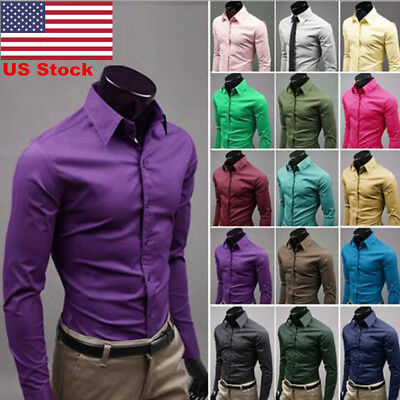 US Mens Slim Fit Shirts Long Sleeve Luxury Formal Casual Designer Cotton Dress