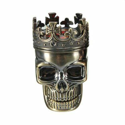 Bronze King Skull Cross Crown 3 Layers Tobacco Herb Spice Grinder Crusher  HOT