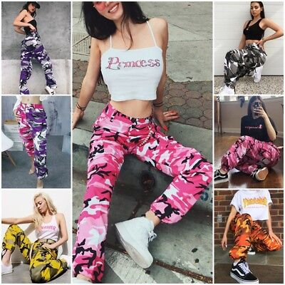 AU Womens Camo Cargo Trousers Casual Pants Military Army Combat Camouflage Jeans