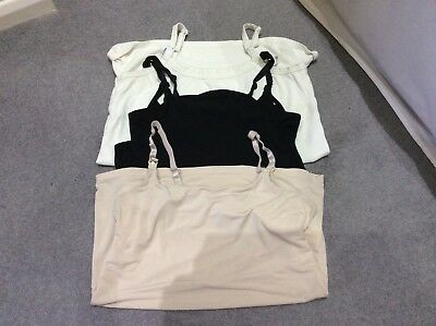 3 Breast feeding/ nursing vests/ tops. Back, white and beige.. Size 10/12