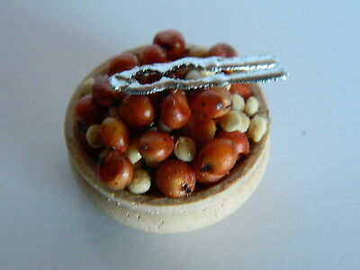 (F23) Dolls House Food : Wooden Bowls Of Nuts & Nut Cracker