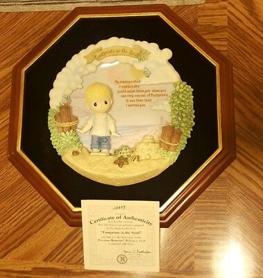 """Precious Moments """"Footprints in the Sand"""" with hanging frame and original COA."""