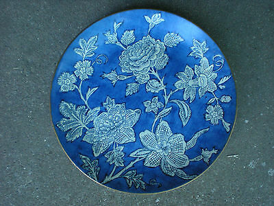 """Andrea by Sadek  10"""" Plate Blue with White Flowers"""