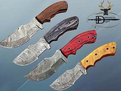 """Tracker Knife 10"""" Long Full Tang Hand Forged Damascus Blade In 3 Scales, Sheath"""