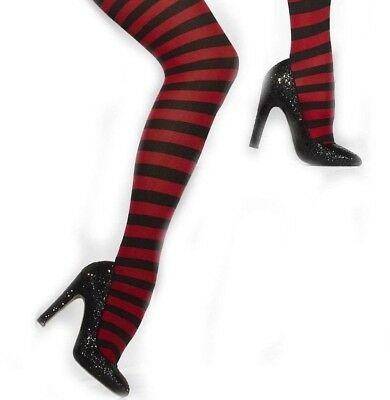 Adult Red Black Striped Tights Ladies Halloween Fancy Dress Accessory Christmas