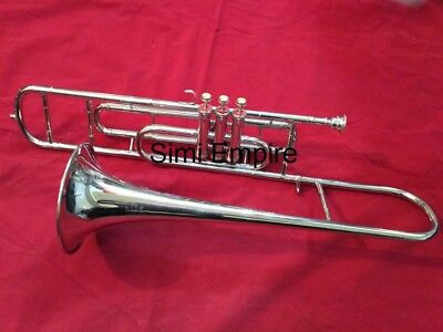 Valve Trombone Chrome Polish With 3 Valves Horn With Free Case Box & Mouthpiece