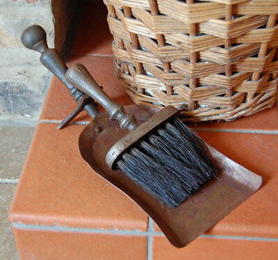 Traditional hammered metal fireside dust pan & brush set
