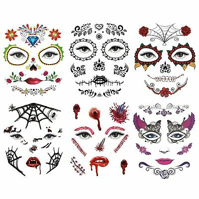 Day of the Dead Temporary Halloween Eye and Face Tattoos Stickers Horror Cosplay