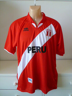 Peru Football Shirt Jersye Top Retro Rare Soccer Classic Red & White Praga Peru