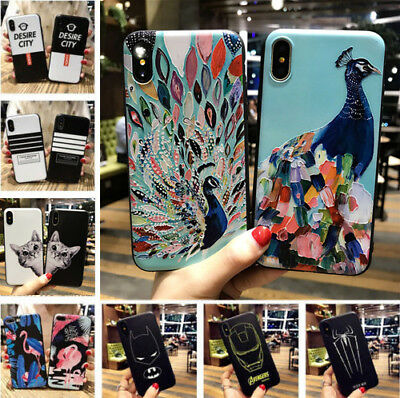3D Patterned Ultra Thin Soft Rubber Phone Case For Apple iPhone 5s 6s 7 8 Plus X