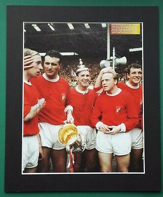 "1963 MANCHESTER UNITED  AUTOGRAPHED PICTURE 12"" x 10"" MOUNT.  CHARLTON & CRERAND"