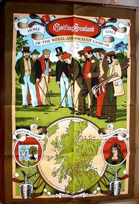 Golfing Scotland. Unused all cotton tea towel c.1970s with courses marked on map