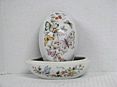 Avon Products Porcelain Egg-shaped China Trinket dish with 22k gold trim 1979