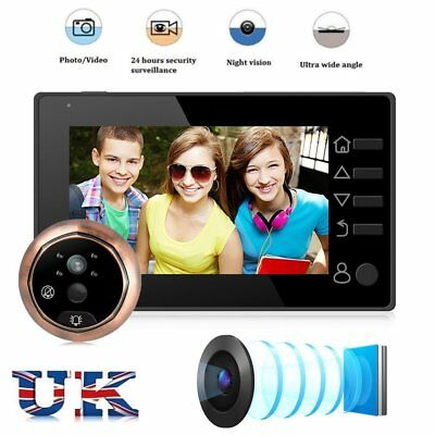 "4.3"" HD LCD Color Screen Smart Door Viewer IR Night Vision Peephole 3MP Camera"