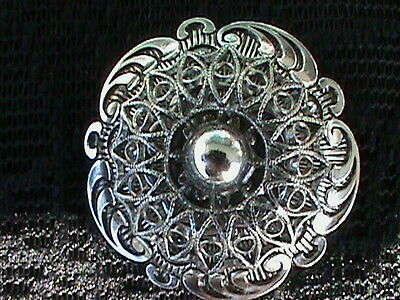 Vintage 1960's Silver Tone Scarf Brooch-  Made in W. Germany