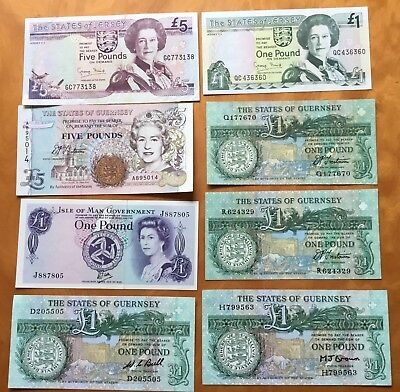 Decent Guernsey,Jersey,isle of man banknotes.