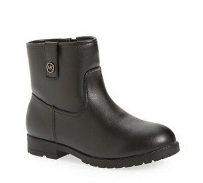 """NWT Girl's Michael Kors """"Dhalia Renne"""" Ankle Boots Booties Size 1 Black Side Zip"""