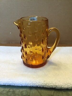 Vintage Rainbow Hand Blown Amber Miniature Pitcher