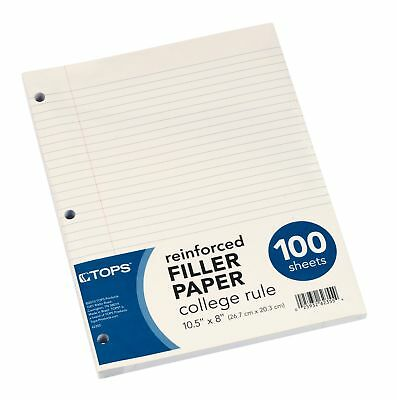 "100 Sheets TOPS Reinforced Filler Paper  College Rule 10-1/2 x 8""  FAST SHIPPING"